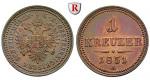 Österreich, Kaiserreich, Franz Joseph I., Kreuzer 1851, vz+