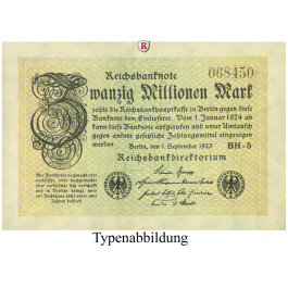 Inflation 1919-1924, 20 Mio Mark 01.09.1923, I-, Rb. 107a