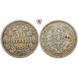 Deutsches Kaiserreich, 50 Pfennig 1877, A, ss, J. 8