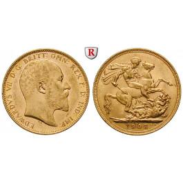 Australien, Edward VII., Sovereign 1902-1910, 7,32 g fein, ss-vz