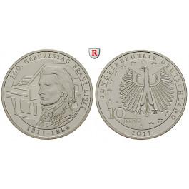 Bundesrepublik Deutschland, 10 Euro 2011, Franz Liszt, G, 10,0 g fein, bfr.