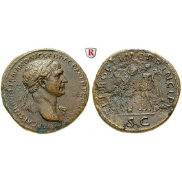 Römische Kaiserzeit, Traianus, Sesterz 103-111, vz/ss
