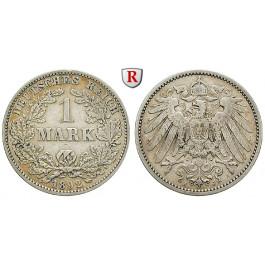 Deutsches Kaiserreich, 1 Mark 1892, J, ss, J. 17