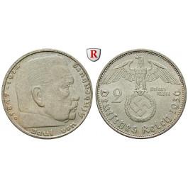 Drittes Reich, 2 Reichsmark 1936, Hindenburg mit Hakenkreuz, D, ss, J. 366