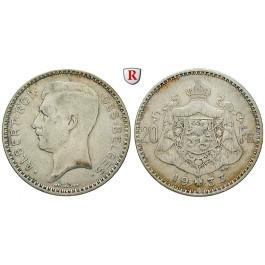 Belgien, Königreich, Albert I., 20 Francs 1933, ss