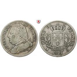 Frankreich, Louis XVIII., 5 Francs 1815, ss