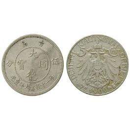 Nebengebiete, Kiautschou, 5 Cent 1909, A, ss-vz, J. 729