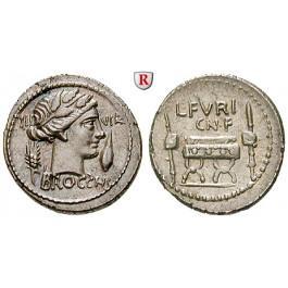 Römische Republik, L. Furius Brocchus, Denar 63 v.Chr., vz-st