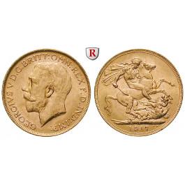 Australien, George V., Sovereign 1917, 7,32 g fein, vz+