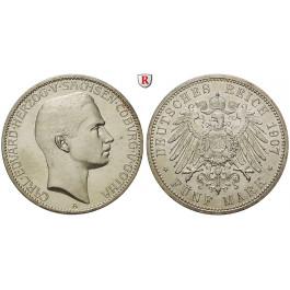 Deutsches Kaiserreich, Sachsen-Coburg-Gotha, Carl Eduard, 5 Mark 1907, A, vz/vz-st, J. 148
