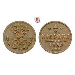 Russland, Nikolaus II., 1/4 Kopeke 1899, ss-vz