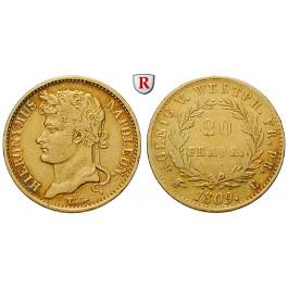 Westfalen, Königreich, Hieronymus Napoleon, 20 Franken 1809, ss-vz/ss