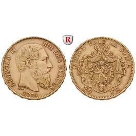 Belgien, Königreich, Leopold II., 20 Francs 1867-1882, 5,81 g fein, ss-vz