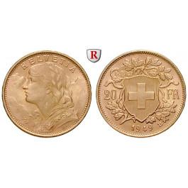 Schweiz, Eidgenossenschaft, 20 Franken 1897-1949, 5,81 g fein, vz-st