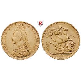 Grossbritannien, Victoria, Sovereign 1887-1892, 7,32 g fein, ss