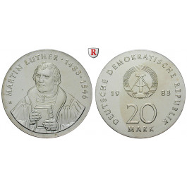 DDR, 20 Mark 1983, Luther, f.st, J. 1591