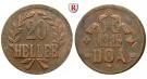 Nebengebiete, Deutsch-Ostafrika, 20 Heller 1916, Ein Blatt / Kleine Krone, T, ss+, J. 727a