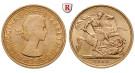 Grossbritannien, Elizabeth II., Sovereign 1957-1968, 7,32 g fein, bfr.