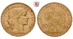 Frankreich, III. Republik, 20 Francs 1899-1914, 5,81 g fein, ss-vz