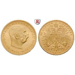 Österreich, Kaiserreich, Franz Joseph I., 20 Kronen 1915, 6,09 g fein, st