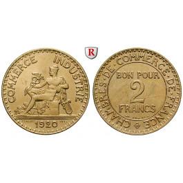 Frankreich, III. Republik, 2 Francs 1920, vz-st