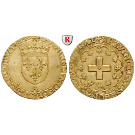 Frankreich, Francois I., Ecu d´or a la croisette o.J. (1540-1547), ss-vz