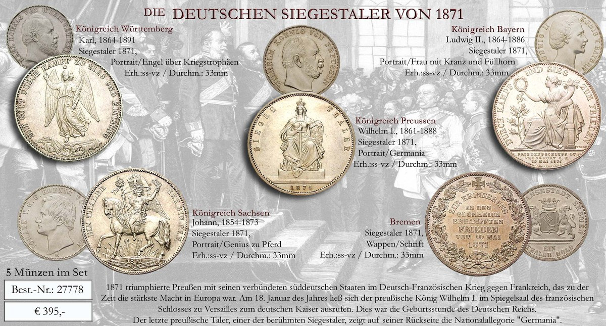 Diverse Länder Siegestaler 1871 Ss Vz