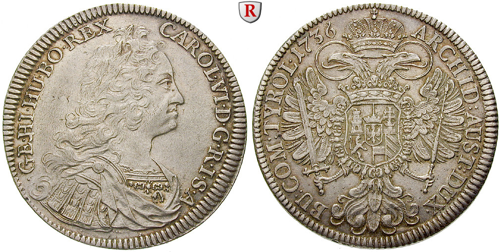 Römisch Deutsches Reich Karl Vi Taler 1736 Vz