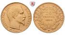 Frankreich, Napoleon III., 20 Francs 1852-1860, 5,81 g fein, ss