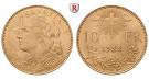 Schweiz, Eidgenossenschaft, 10 Franken 1912-1922, 2,9 g fein, vz