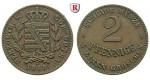 Sachsen, Sachsen-Coburg-Gotha, Ernst II., 2 Pfennig 1868, ss-vz