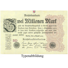 Inflation 1919-1924, 2 Mio Mark 09.08.1923, I-, Rb. 103a