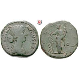 Römische Kaiserzeit, Faustina II., Frau des Marcus Aurelius, Sesterz 161-175, f.ss