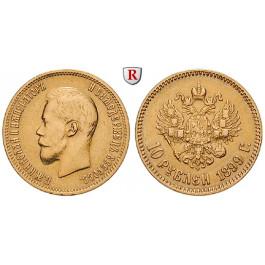 Russland, Nikolaus II., 10 Rubel 1899, 7,74 g fein, ss