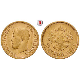 Russland, Nikolaus II., 10 Rubel 1899, 7,74 g fein, f.vz/vz-st