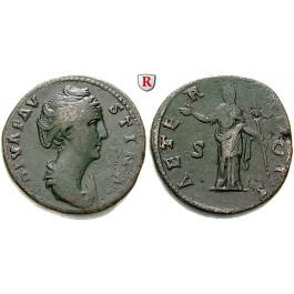 Römische Kaiserzeit, Faustina I., Frau des Antoninus Pius, Sesterz nach 141, ss