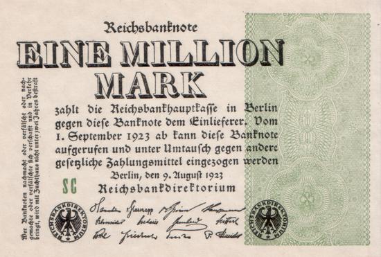 1923 - 08 - August - Zwei Banknoten, ein Druckvorgang