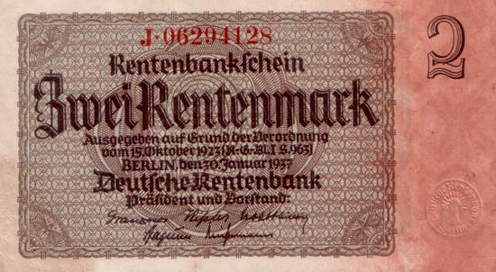 1937 - 01 - Januar - Prägestempel auf Banknoten