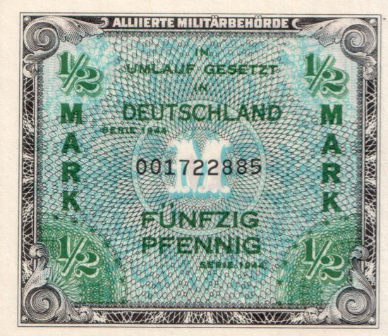 1944 - Geheimzeichen der Druckerei auf alliiertem Militärgeld